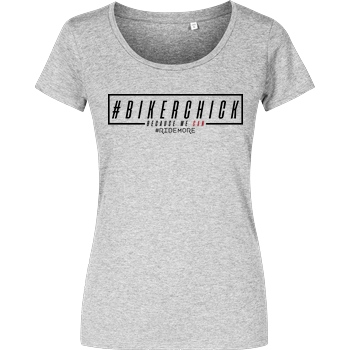 Ride-More Ridemore - #BikerChick T-Shirt Damenshirt heather grey