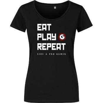 Geezy Geezy - Eat Play Repeat T-Shirt Girlshirt schwarz