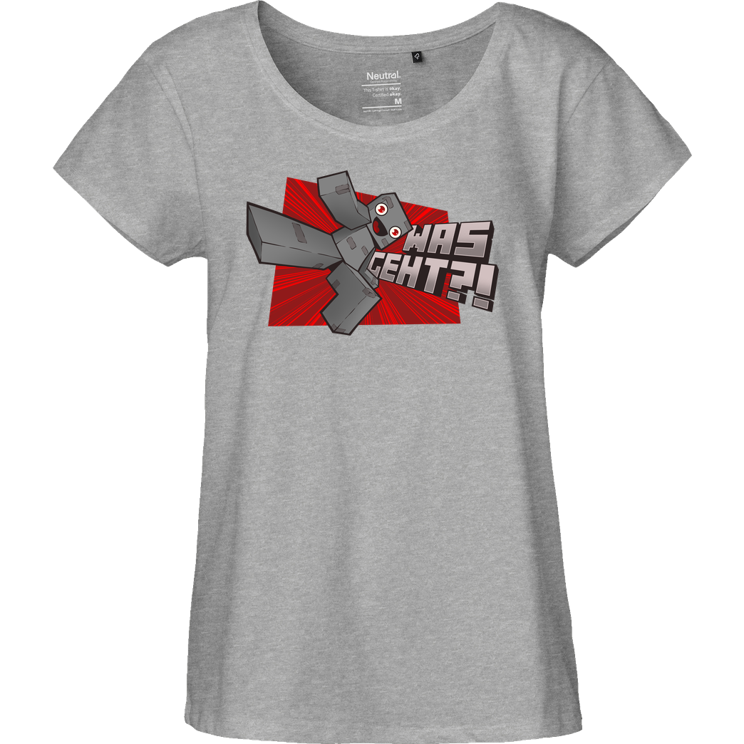 Alphastein Alphastein - Was geht? T-Shirt Fairtrade Loose Fit Girlie - heather grey