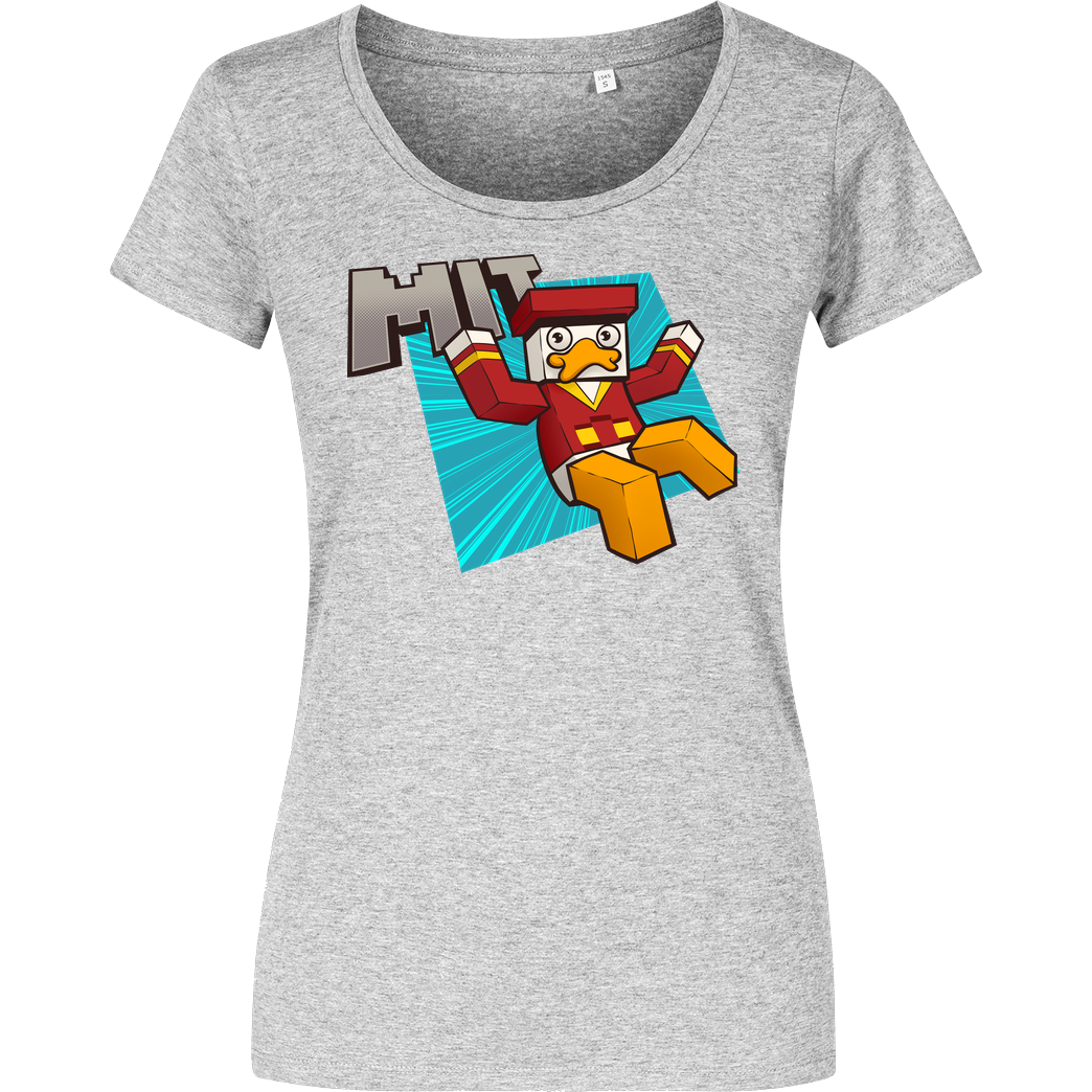 Alphastein Alphastein - Mit Ente T-Shirt Girlshirt heather grey
