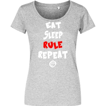 hallodri Hallodri - Eat Sleep Rule Repeat T-Shirt Damenshirt heather grey