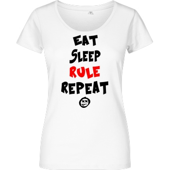 hallodri Hallodri - Eat Sleep Rule Repeat T-Shirt Damenshirt weiss