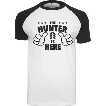 bjin94 The Hunter is Here T-Shirt Raglan-Shirt weiß