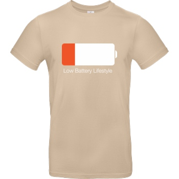 Geek Revolution Low Battery Lifestyle T-Shirt B&C EXACT 190 - Sand