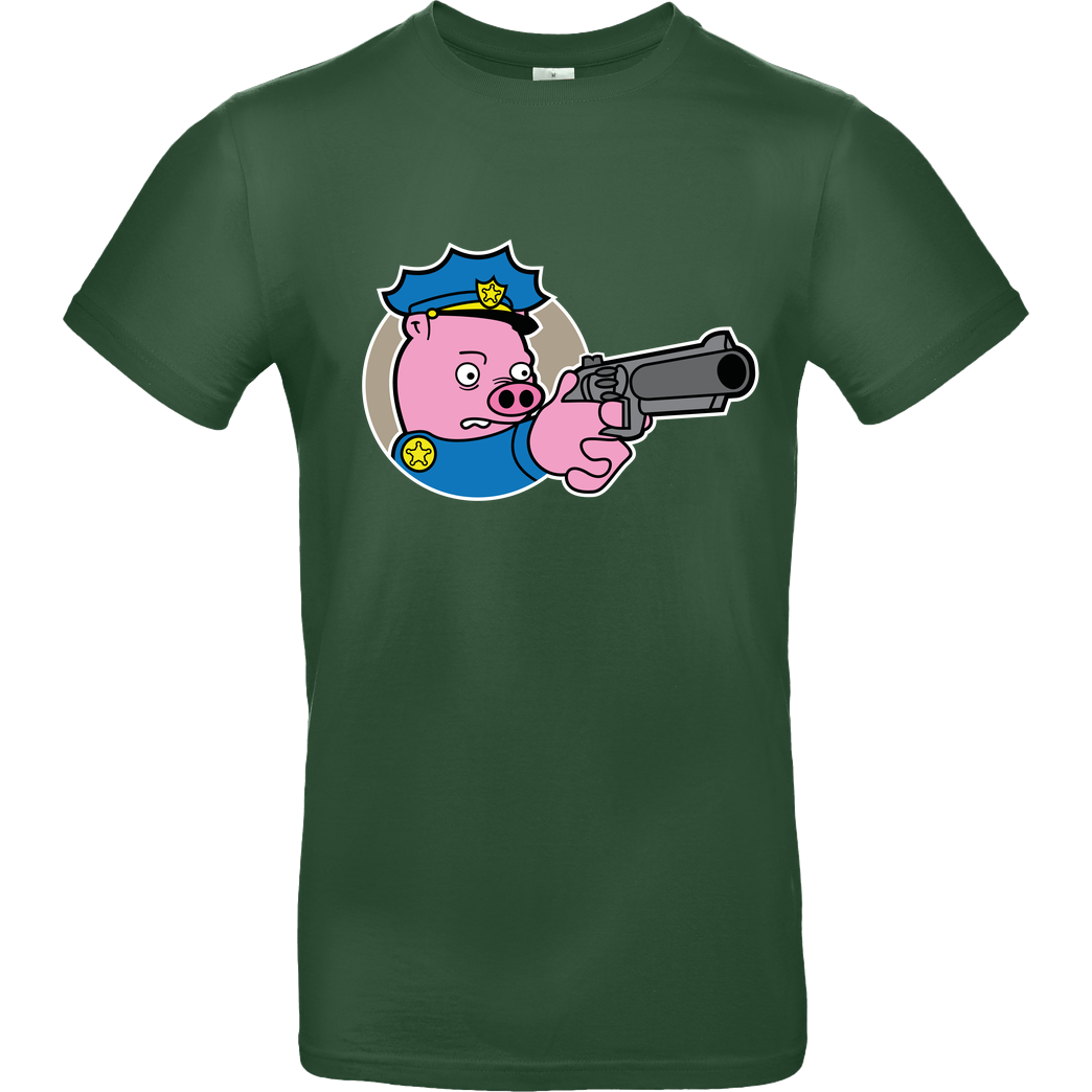 Geek Revolution Piggy Cop T-Shirt B&C EXACT 190 - Flaschengrün