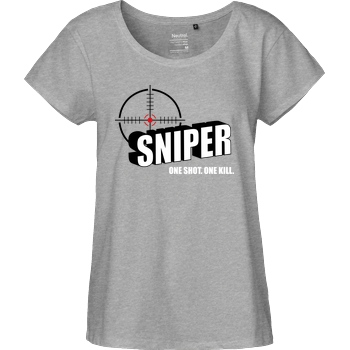 bjin94 One Shot One Kill T-Shirt Fairtrade Loose Fit Girlie - heather grey