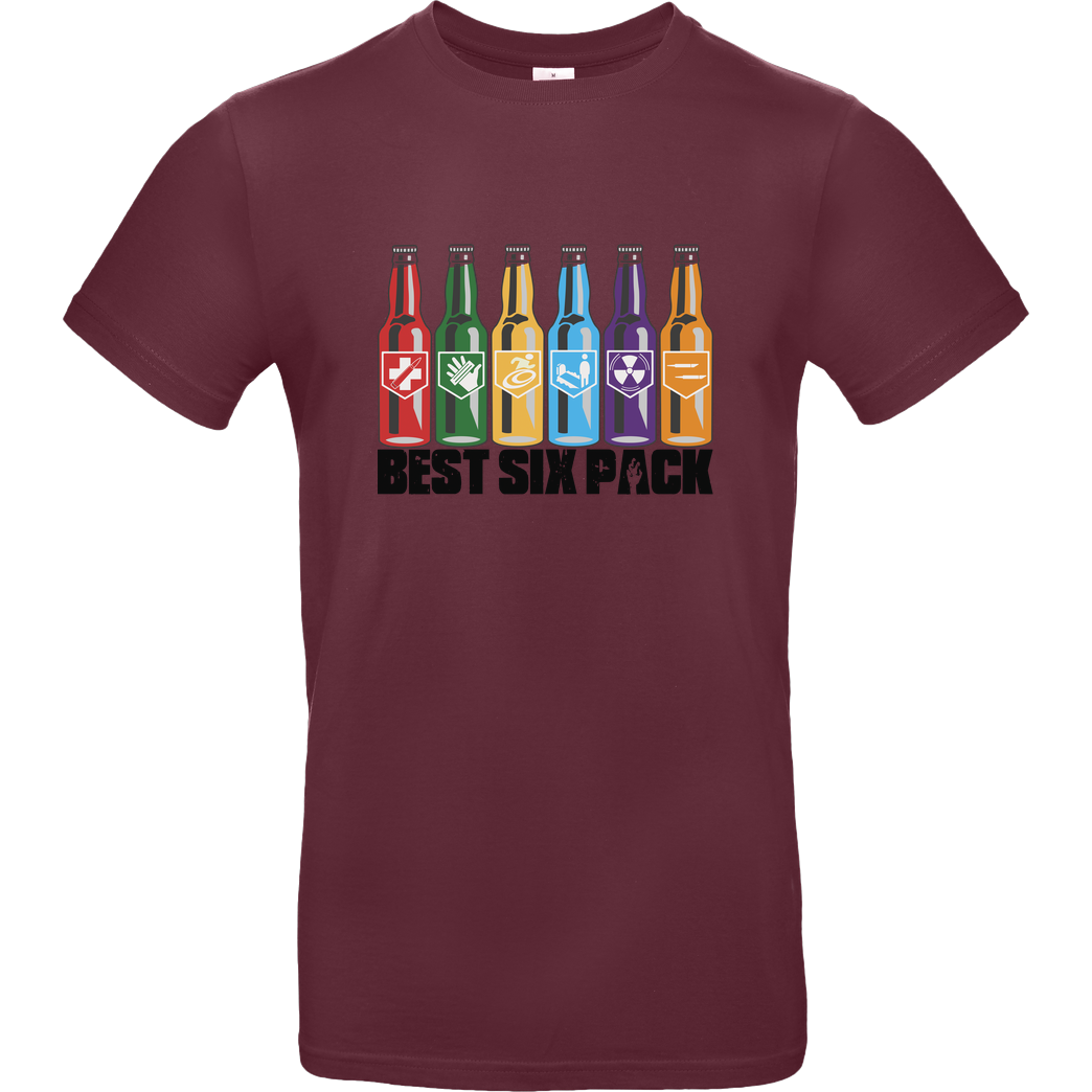 veKtik veKtik - Best Six Pack T-Shirt B&C EXACT 190 - Bordeaux
