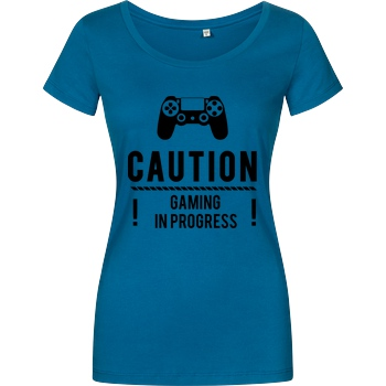bjin94 Caution Gaming v1 T-Shirt Damenshirt petrol
