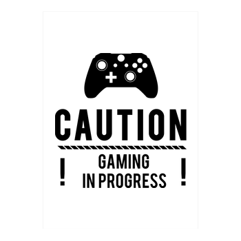 Caution Gaming v2 Kunstdruck weiss