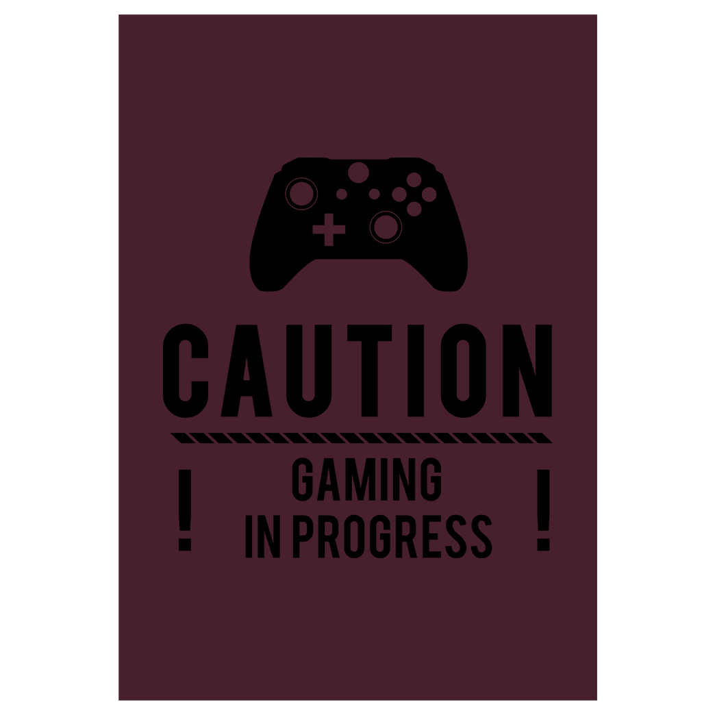 bjin94 Caution Gaming v2 Druck Kunstdruck bordeaux