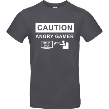 bjin94 Caution! Angry Gamer T-Shirt B&C EXACT 190 - Dark Grey