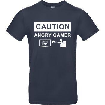 bjin94 Caution! Angry Gamer T-Shirt B&C EXACT 190 - Navy