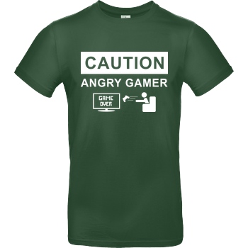 bjin94 Caution! Angry Gamer T-Shirt B&C EXACT 190 - Flaschengrün