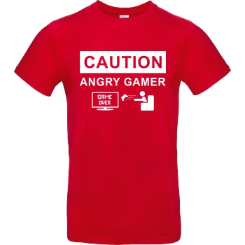 bjin94 Caution! Angry Gamer T-Shirt B&C EXACT 190 - Rot