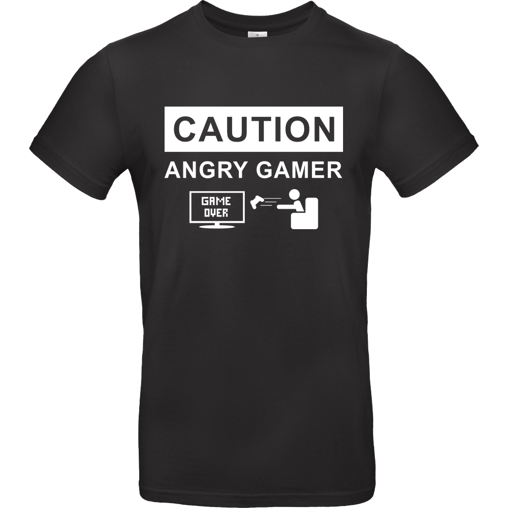bjin94 Caution! Angry Gamer T-Shirt B&C EXACT 190 - Black