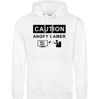 Caution! Angry Gamer JH Hoodie - Weiß