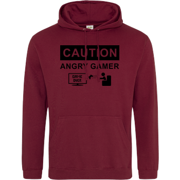 Caution! Angry Gamer JH Hoodie - Bordeaux