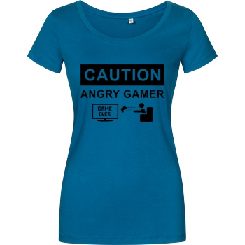 bjin94 Caution! Angry Gamer T-Shirt Girlshirt petrol