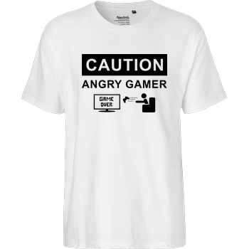 bjin94 Caution! Angry Gamer T-Shirt Fairtrade T-Shirt - weiß