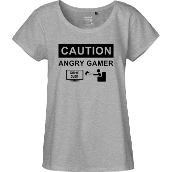 bjin94 Caution! Angry Gamer T-Shirt Fairtrade Loose Fit Girlie - heather grey