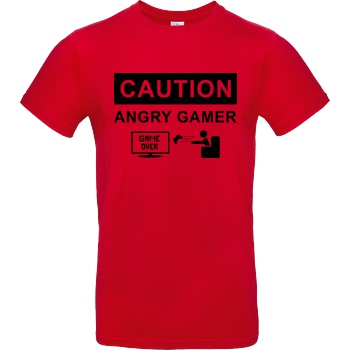 bjin94 Caution! Angry Gamer T-Shirt B&C EXACT 190 - Red