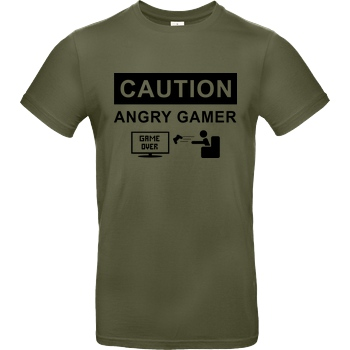 bjin94 Caution! Angry Gamer T-Shirt B&C EXACT 190 - Khaki