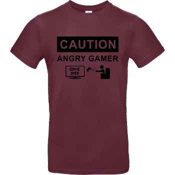bjin94 Caution! Angry Gamer T-Shirt B&C EXACT 190 - Bordeaux