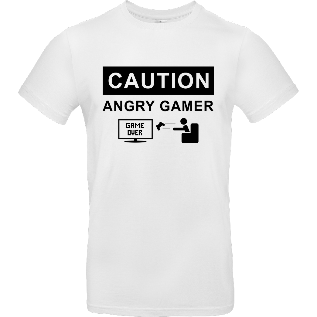 bjin94 Caution! Angry Gamer T-Shirt B&C EXACT 190 -  White