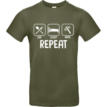 bjin94 Eat Sleep Mine Repeat T-Shirt B&C EXACT 190 - Khaki