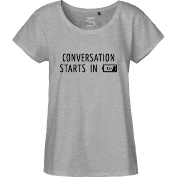 None Conversation Starts in 12% T-Shirt Fairtrade Loose Fit Girlie - heather grey