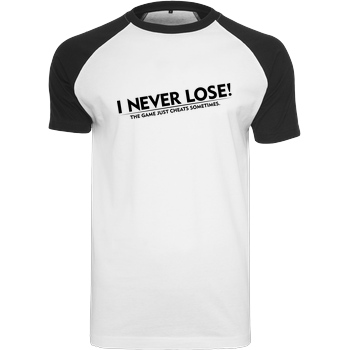 IamHaRa I Never Lose T-Shirt Raglan Tee white