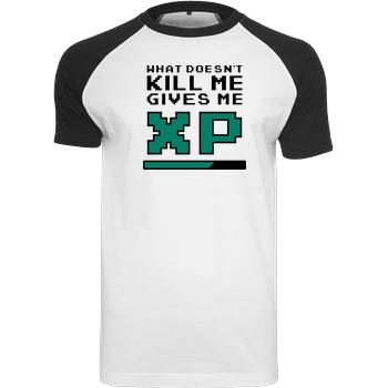 bjin94 What doesn't Kill Me T-Shirt Raglan Tee white