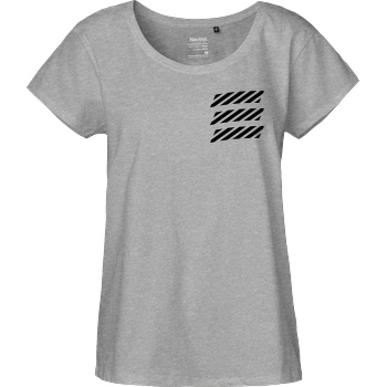 Echtso Echtso - Striped Logo T-Shirt Fairtrade Loose Fit Girlie - heather grey