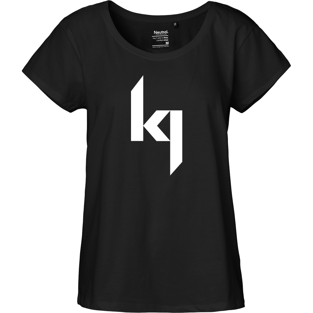 Kjunge Kjunge - Logo T-Shirt Fairtrade Loose Fit Girlie - schwarz